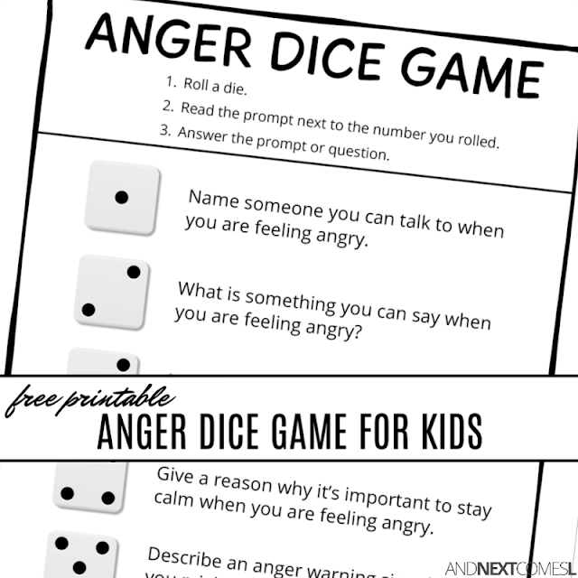 Free printable anger dice game - a great anger management activity for kids