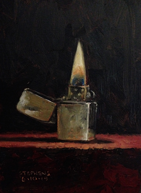 Daily Painting: Lit Zippo 5x7  Daily Painting:...