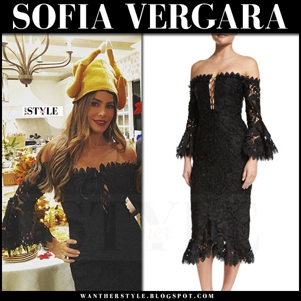 Sofia Vergara in black lace dress nicholas botanical what she wore