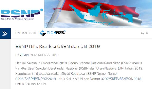 Kisi - Kisi USBN dan UN 2019 Telah Di Rilis BSNP, Download Disini!!
