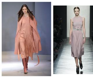 Vestidos debajo la rodilla y combinados con abrigo. Todo en rosa.
