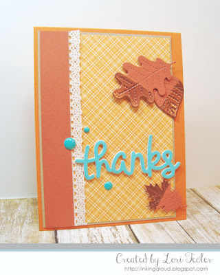 Dipped Leaf Thanks card-designed by Lori Tecler/Inking Aloud-dies from Lawn Fawn