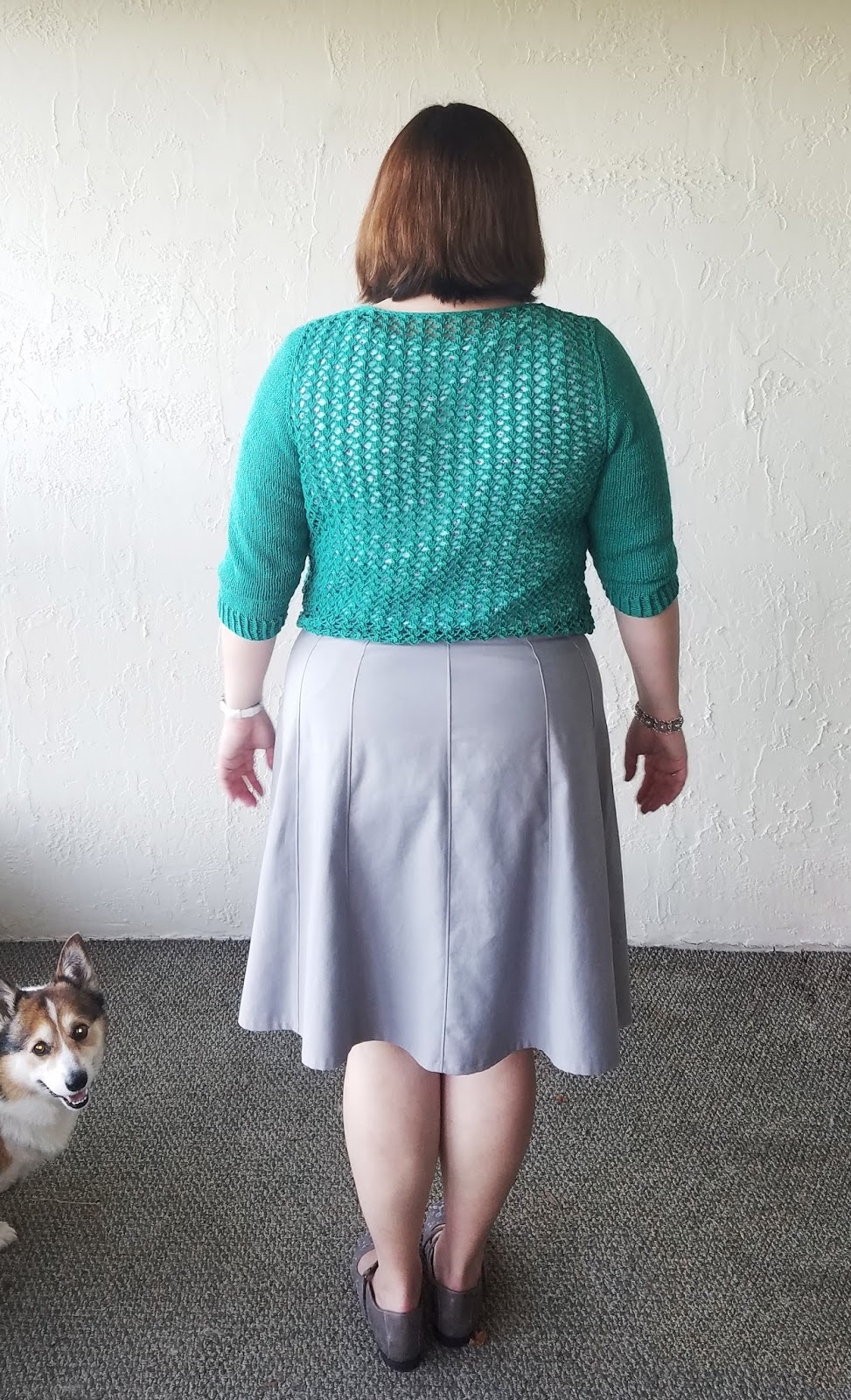 58a9b158440 Gordo bomb! lol my dog really wanted to be a part of this whole picture  taking business. The back of the sweater has the same all over lace pattern  as the ...
