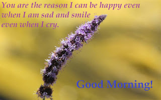 You are the reason I can be happy even when I am sad and smile even when I cry. Good morning.