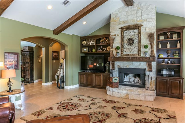 Stone Fireplace-House Hunting-Texas Hill Country House- From My Front Porch To Yours