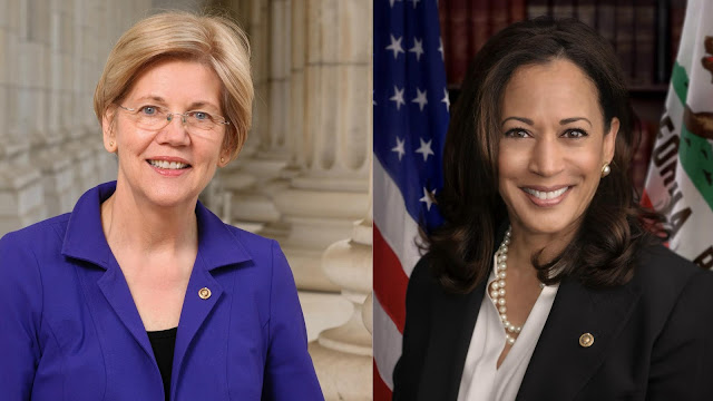 Image result for Elizabeth Warren and Kamala Harris