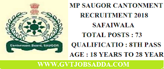SAUGOR CANTONMENT BOARD RECRUITMENT 2018