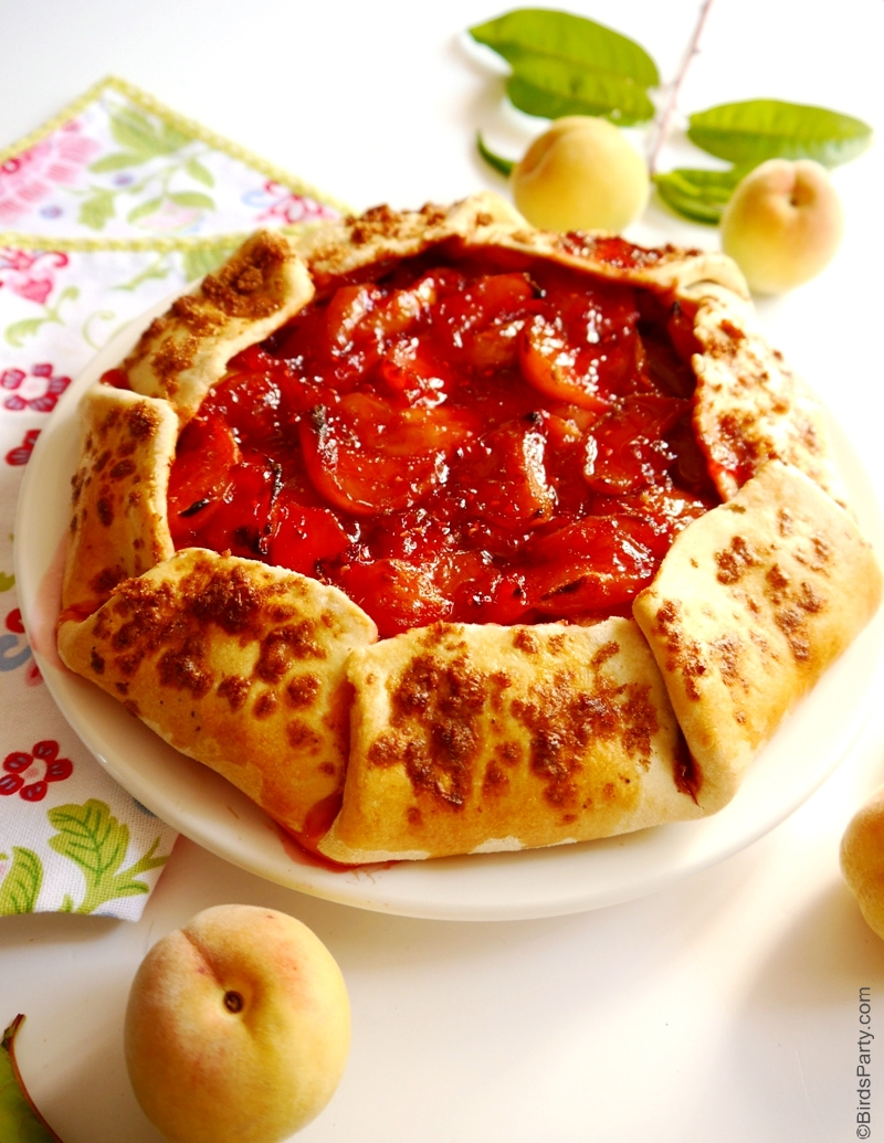 The Easiest Peach & Raspberry Galette Recipe - BirdsParty.com
