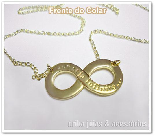 ed6d19d847f62 Gargantilha folheada a ouro com o símbolo do infinito, contendo os dizeres