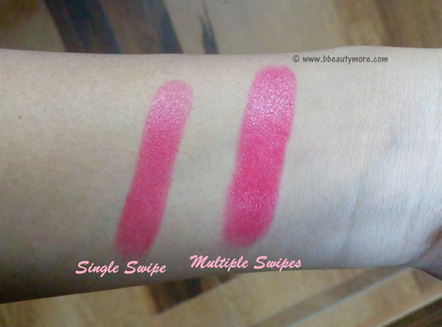 Drugstore lipstick from Mistral of Milan, has a creamy formula that is moisturizing with good pigment and moderate colour payoff. Keeps lips soft and shiny for quite long time.