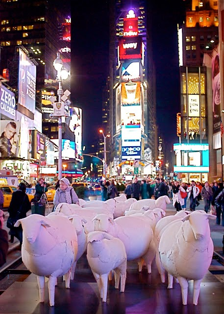 Paper Sculpture Sheep in Times Square Installation