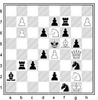 Problema de mate en 2 compuesto por Vyacheslav Georgevich Kopaev (1º Premio, Probleemblad 2004)