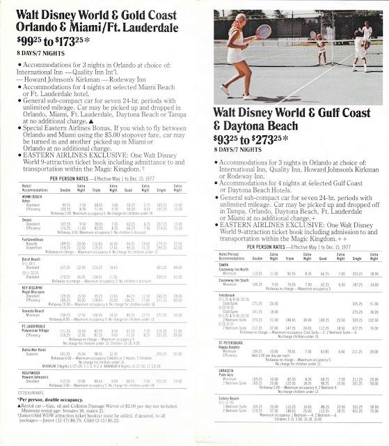 Tennis Walt Disney World Eastern Airlines Guide 1977