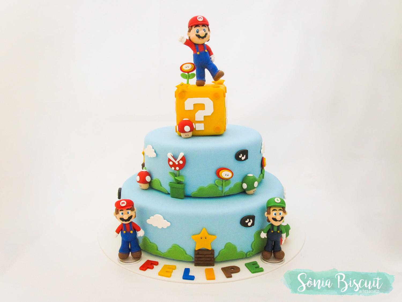 Sonia Biscuit, Biscuit, Topo de Bolo, Bolo Cenográfico, Super Mario Bros, Mario, Luigi, Nintendo