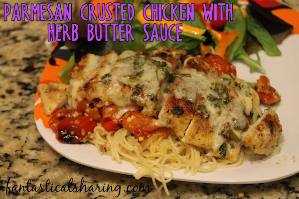 Parmesan Crusted Chicken with Herb Butter Sauce // This fabulous dish not only looks impressive, but it tastes impressive too. However, it is easy to make! #recipe #chicken #pasta