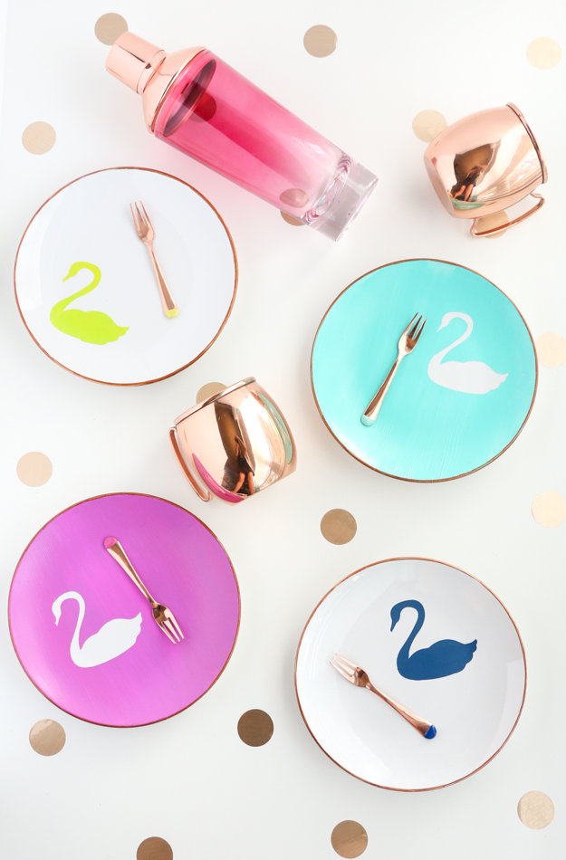 DIY vinyl stenciled swan plates with copper rim - coordinate with the Oh Joy for Target Fall 2016 home collection - Swan appitizer plates - copper and rose gold - fall home - how to paint your own food safe plates - using vinyl as a stencil
