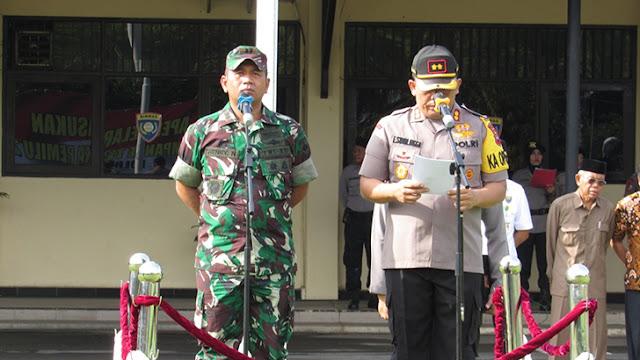 Kodim 0736/Batang dan Polres Batang Gelar Apel Gabungan Dalam Rangka Pengamanan Pemilu
