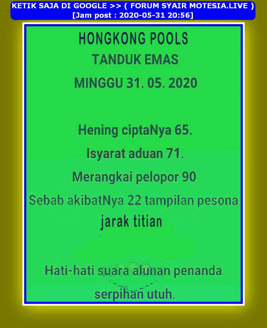 Kode syair Hongkong Minggu 31 Mei 2020 14