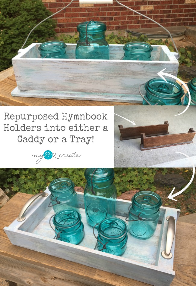 How to make a caddy or tray from old hymnbook holders, a repurposing tutorial at MyLove2Create