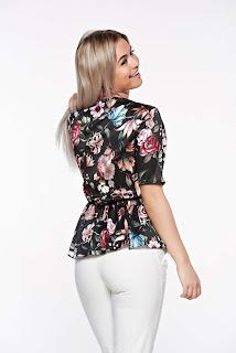 Bluza dama SunShine neagra eleganta cu croi larg cu decolteu in v din material satinat cu elastic in talie2