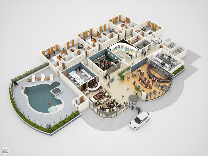 Conceptual 3D hotel floor plan for e-learning