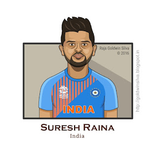 suresh raina cartoon caricature india