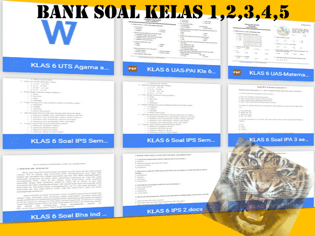 Download Bank Soal UKK Kelas 1,2,3,4,5 SD Format Words