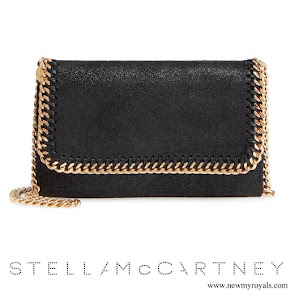 Meghan Markle carried Stella McCartney Black Shaggy Deer Faux Leather Crossbody Bag