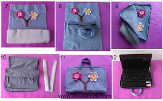 Tutorial 2 membuat tas laptop cantik dari kain perca