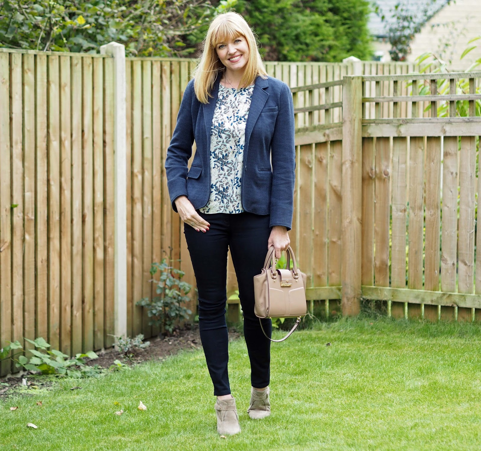 Tulchan leaf top, Joules jersey blazer and Ilex Alexa bag