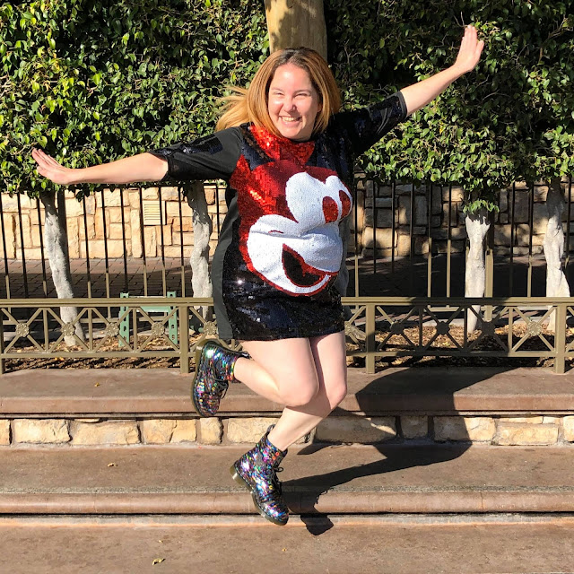 #BoundtoParkHop, Instagram photo challenge, clothing challenge, Disneyland, Disney bounding, Disney bounds, Jamie Allison Sanders, Favorite Show, Main Street Electrical Parade, Akira Mickey Mouse sequin dress, Doc Martens sequin boots