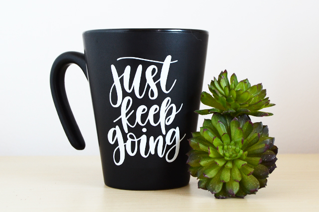 handlettered just keep going mug