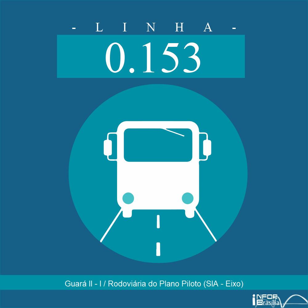 Horário de ônibus e itinerário 0.153 - Guará II - I / Rodoviária do Plano Piloto (SIA - Eixo)