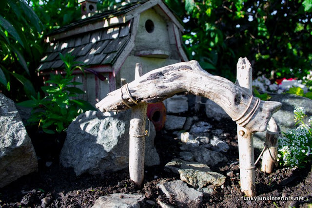 driftwood fence in fairy garden