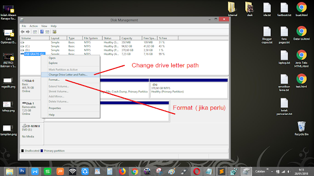 "Klik kanan, pilih ""Change Drive Letter and Path"" pada Windows"