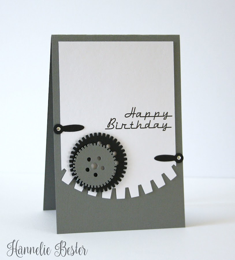 Masculine birthday card - gears