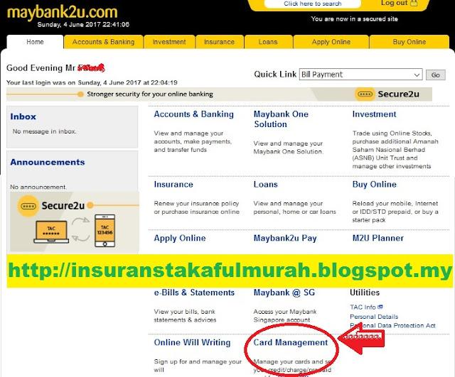 Cara Tukar Limit Debit Card Maybank melalui maybank2u