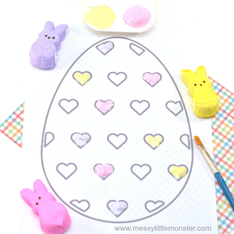 Peeps edible puffy paint recipe. Includes a free printable Easter egg colouring sheet. A fun and easy painting idea for kids.