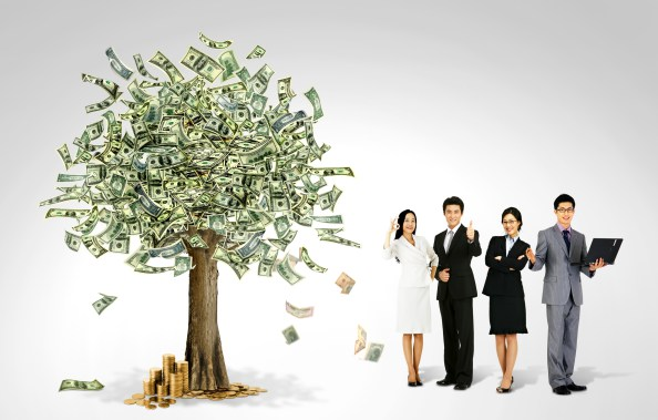 Money Tree and Asian Businessmen Background PSD Freebie