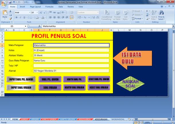 Aplikasi Pembuatan Soal Format Microsoft Excel