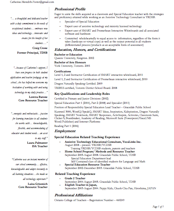 Welcome to Catherine Foster's YRDSB Digital Resume: Resume