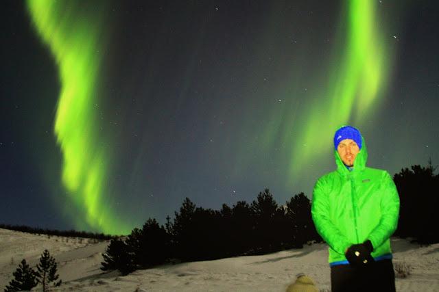 Simon Heyes beneath the Northern Lights in Iceland - February 2015