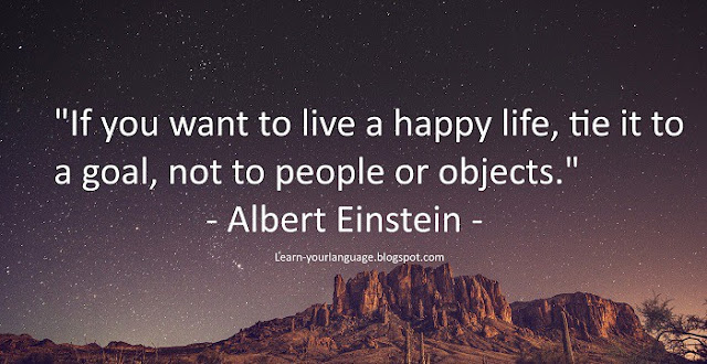 If you want to live a happy life, tie it to a goal, not to people or objects. - Albert Einstein