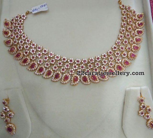66 Grams Floral CZ Necklace with Rubies