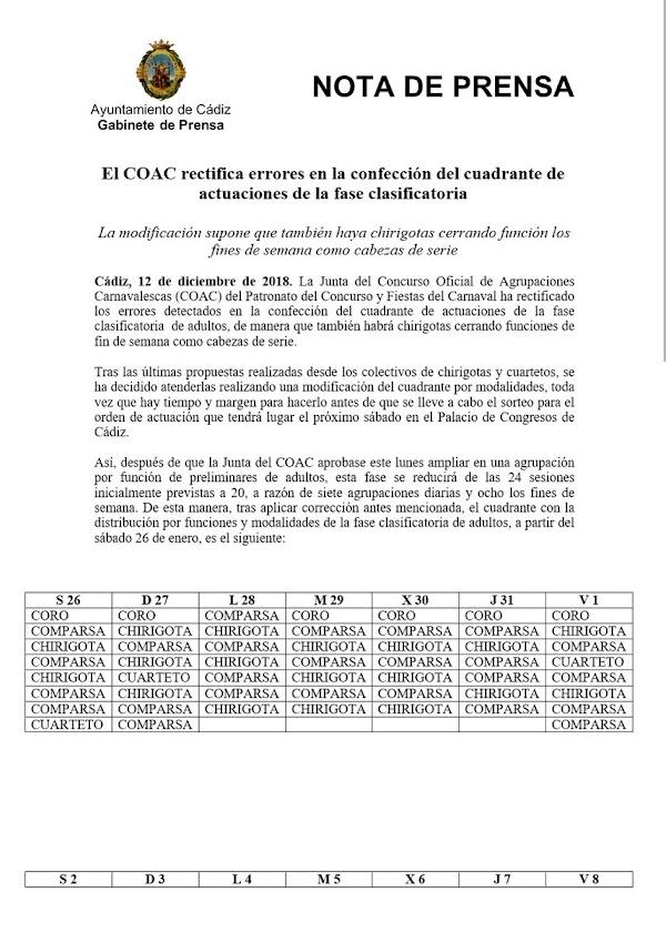 El COAC rectifica errores en la confección del cuadrante de actuaciones de la fase clasificatoria