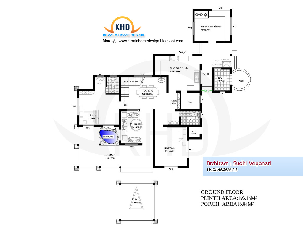 Elevation Of Ground Floor Plan : Home plan and elevation sq ft kerala design