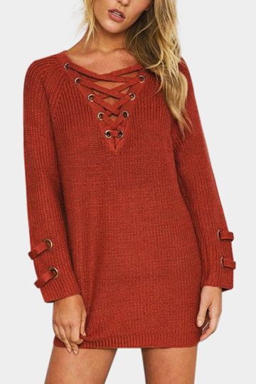 Coral Lace-up Front Long Raglan Sleeves Sweater Dress