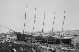 Schooner Governor Ames launching, Maine