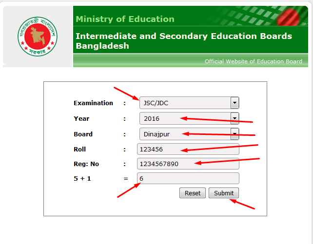 Dinajpur Board JSC Result 2016 BD by online