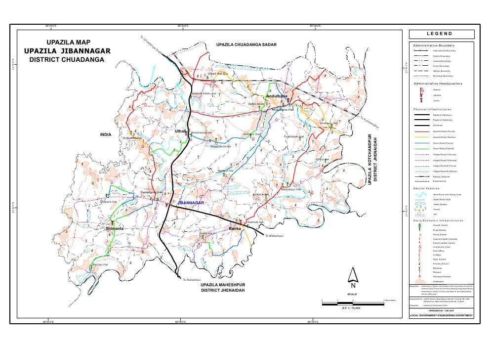 Jibannagar Upazila Map Chuadanga District Bangladesh